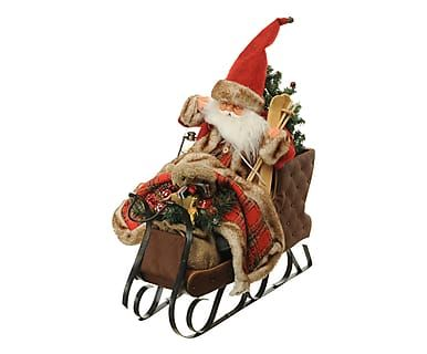 Babbo Natale musicale con movimento Slitta, 20x56x43 cm