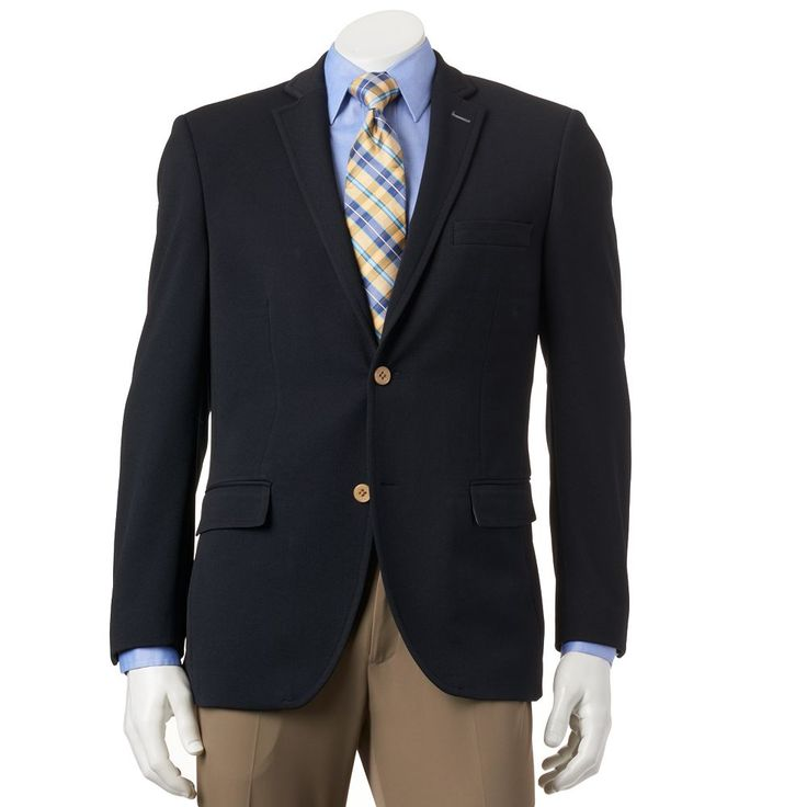 Men's Savile Row Modern-Fit Navy (Blue) Knit Travel Blazer, Size: 44 - regular