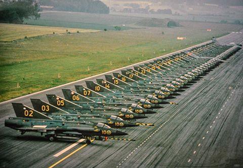 """A lineup of Royal Swedish Air Force SAAB J-35 """"Drakens"""""""