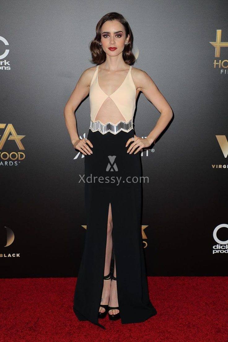 Lily Collins Beige and Black Two-tone Unique Prom Dress Hollywood Awards 2016