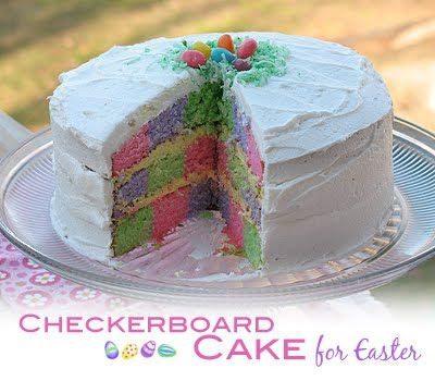 how to make a checkerboard cake without pans