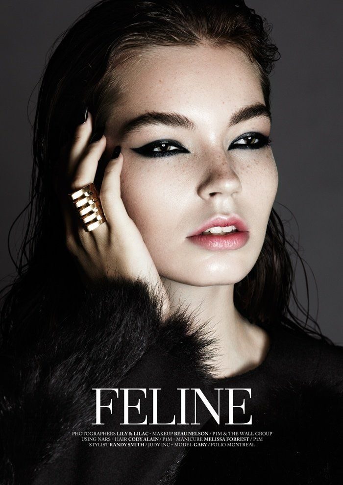 Feline – Gaby (Folio Montreal) looks just purrfect with her cat eyes, head-to-toe fur and glittering jewels, shot for Factice Magazine.