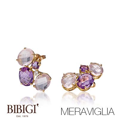 #Bibigi : gioielli in oro rosa, brillanti, ametista e quarzo rosa.
