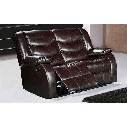Gramercy Brown Leather Reclining Loveseat