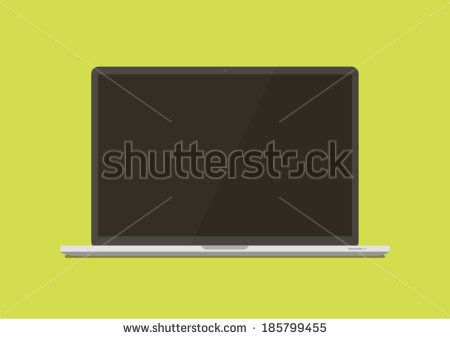Laptop front side Flat style  - stock vector
