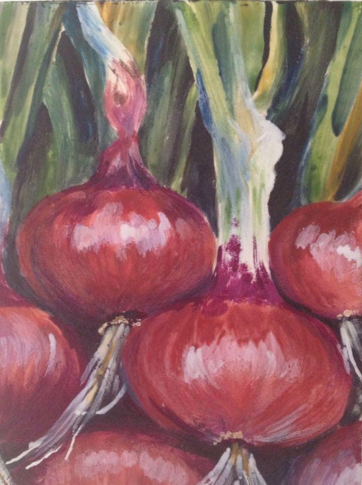 Red onion. Encaustic.