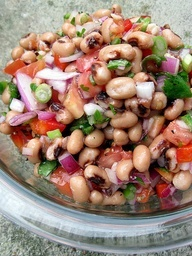 BIKINI FIT LUNCH: Black-eyed Pea Salad 2 cans black-eyed peas, 1 diced tomato, 1/2 diced red onion, 1 small or 1/2 large red, yellow, or orange bell pepper, 1 jalapeno,4 green onions, 1/3 cup cilantro, 1/4 cup rice wine vinegar (unseasoned), 2 Tbsp. canola oil, 1/2 tsp. organic cane sugar, salt and freshly ground black pepper. Bean dishes are a good substitute for meat dishes when trying to get fit!