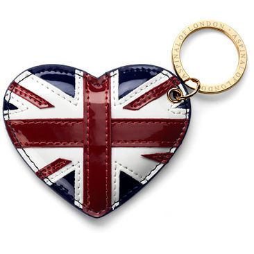 Brit Heart Keyring in Navy Patent - Luxury Leather Wallets, Leather Handbags, Cufflinks - British Luxury Leather Goods from Aspinal of London