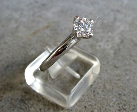 14K Solid Gold Engagement Ring Gold Ring w Clear by SoCoolCharms