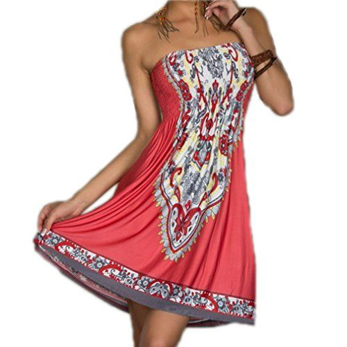 ACVIP Womens Sexy Bohemian Beach Dresses Watermelon Red L >>> You can find out more details at the link of the image.(This is an Amazon affiliate link and I receive a commission for the sales)