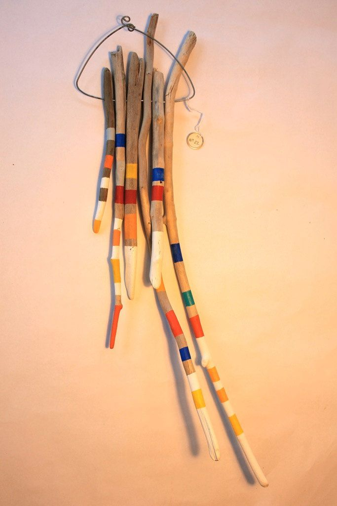 No.22, Modern driftwood sculpture mobile, tribal ocean dreamcatcher, colorful stripes, wall hanging, playful one-of-a kind hand painted by Zanimo on Etsy