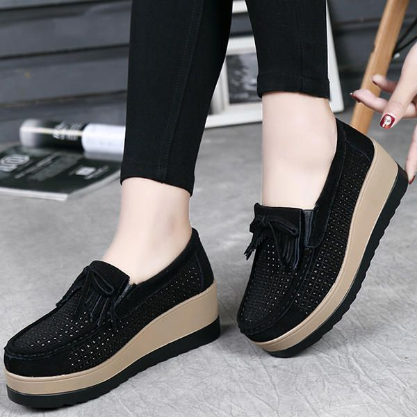 Hollow Out High Heel Casual Comfy Platforms Women Shoes - US$37.86