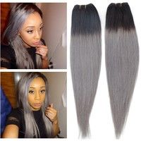 Wish | Top Dark Grey Ombre Human Hair Extensions Brazilian Straight Virgin Hair Weave Two Tone 100g/Bundle