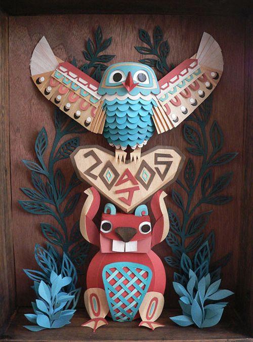 totem pole. Cut Paper.American Indians, Paper Art, Paperart, Totems Pole, Megan Brain, The Brain, Paper Sculptures, Totem Poles, Paper Crafts