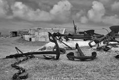 Old anchor scrapyard at the Royal  Naval Dockyard in Bermuda, British Overseas Territory.
