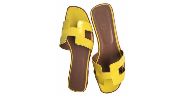 Sandales Hermès Oran Vernis fluo