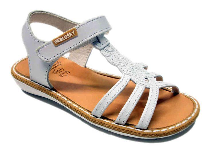 Sandalia blanca de piel para niña de la marca Pablosky-CALZADOS PARA TI