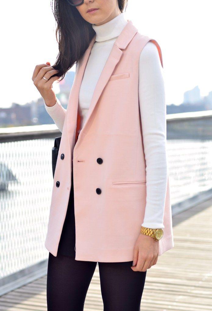 Pink Sleeveless Blazer by lcscloset.com