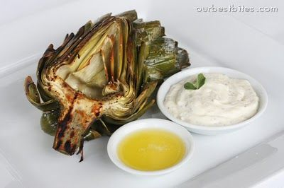 Fire Roasted Artichoke: also, preparation guide for how to cut the artichoke.