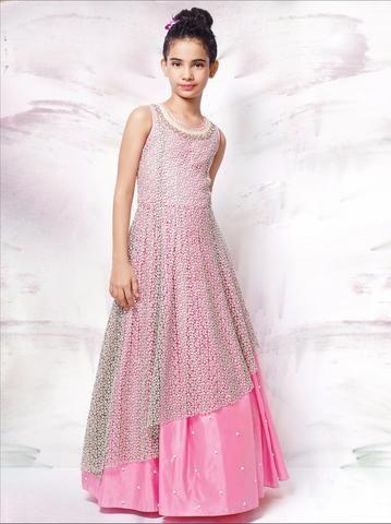 Light Pink China Mushroom Net Kids Gown ,Indian Dresses