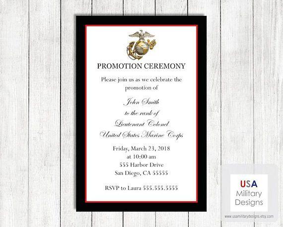 Marine Corps Promotion Ceremony Invitation Printable Marine Etsy Retirement Invitations Invitations Graduation Invitations
