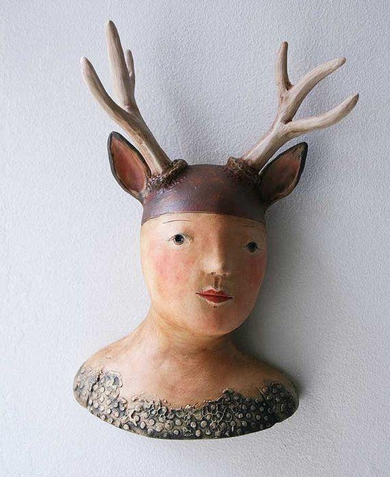 Deer Girl ceramic wall sculpture