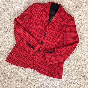 Two Piece Set Women 2018 Autumn Winter Outfits Long Sleeve Jakcet And Skirt Red Plaid Ladies Suit Casual jacket S 2