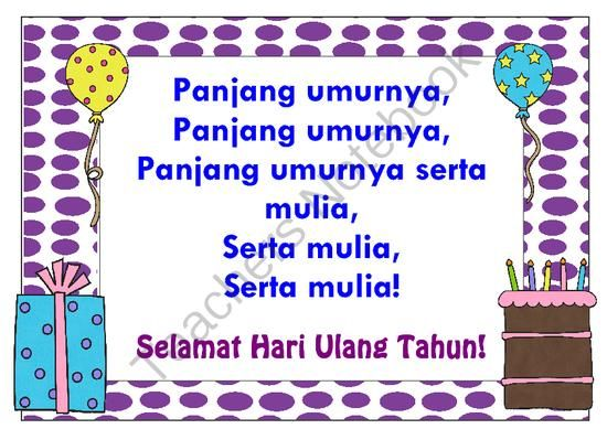 Happy Birthday song in bahasa Indonesia ~ LOTE chart Indonesian from Miss Simplicity's Store on TeachersNotebook.com (5 pages)  - A choice of two posters displaying the words to 'Panjang Umurnya' plus matching mini ones which can be used for Birthday certificates!