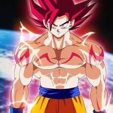 This is the ultimate saiyan warrior named Goku in his super saiyan god form