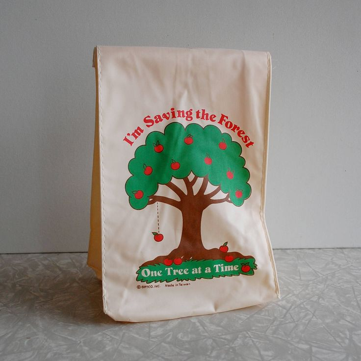 reusable lunch bag, vintage alternative lunch bag, cloth lunch bag, never used, deadstock, save the earth friendly bag, sustainable, 1980s by TheBestThings on Etsy https://www.etsy.com/listing/509157562/reusable-lunch-bag-vintage-alternative