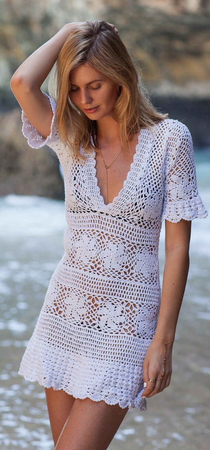 White Stripe Crochet V-neck Little Dress:
