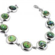 gemguru Sterling-Silver-Reversible-Bezel-Set-Abalone-Bracelet