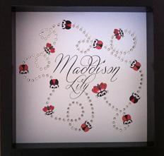 Custom Design - New born girl - Bling - Lady Bugs Butterflies