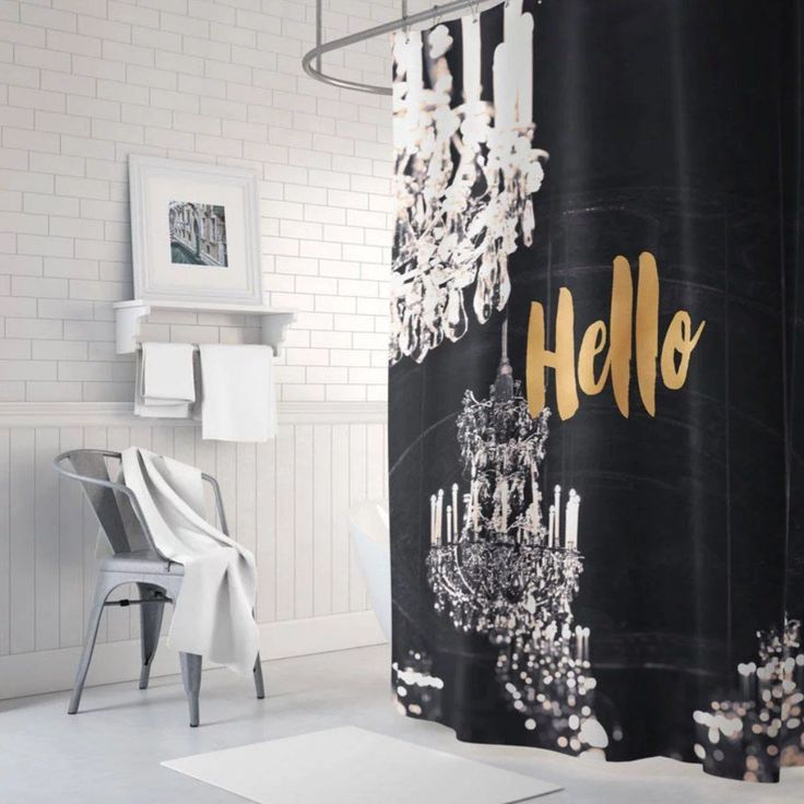 Black And Gold Shower Curtain Chandelier Shower Curtain Gold