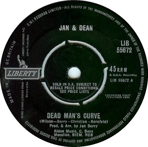 Dead Man's Curve. Jan and Dean. and that's when I saw the Jag slide into the curve.: Man Curves, Dead Man