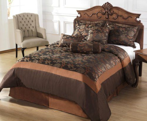 Chezmoi Collection 7 Pieces Chocolate Rust Jacquard Floral