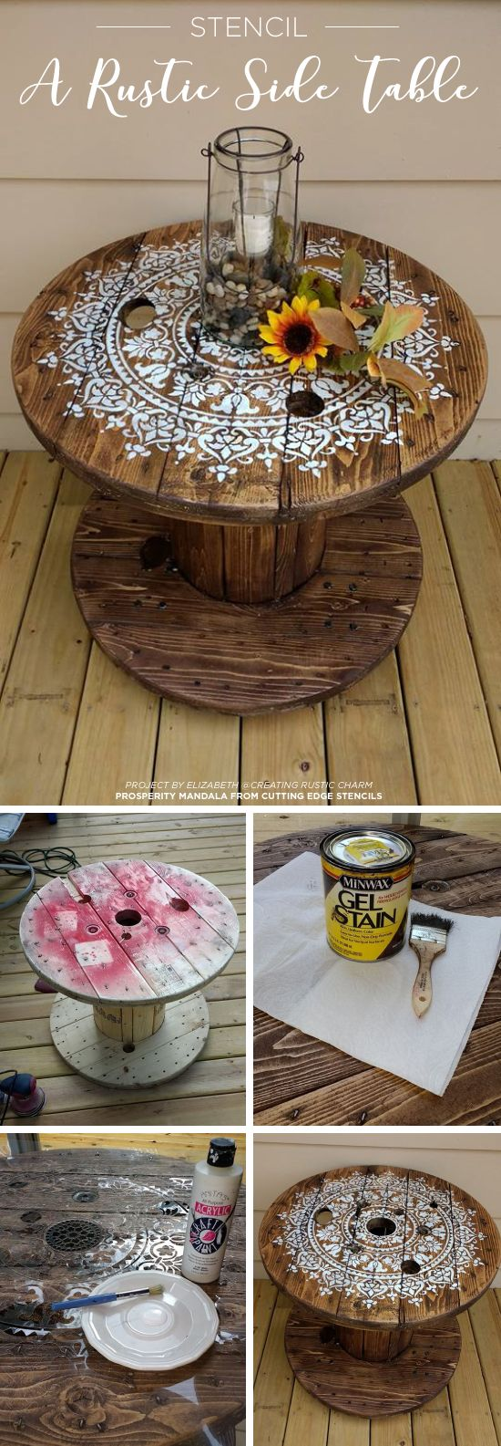 Cutting Edge Stencils shares how to upcycle a wooden spool into a table using the Prosperity Mandala pattern. http://www.cuttingedgestencils.com/prosperity-mandala-stencil-yoga-mandala-stencils-designs.html