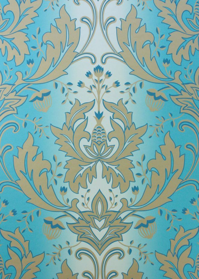 The Matthew Williamson Turquoise & Gold Viceroy Wallpaper.