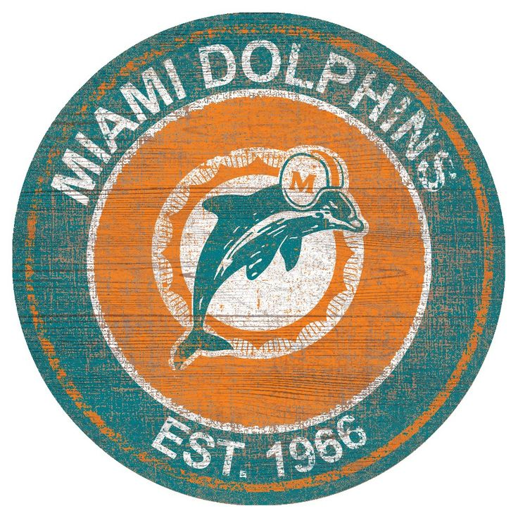 NFL Miami Dolphins Heritage Logo 24 Round Sign