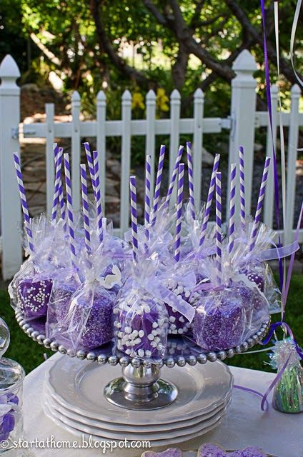 Dessert idea for a Sofia the First Birthday Party - Purple Rice Krispie Treats