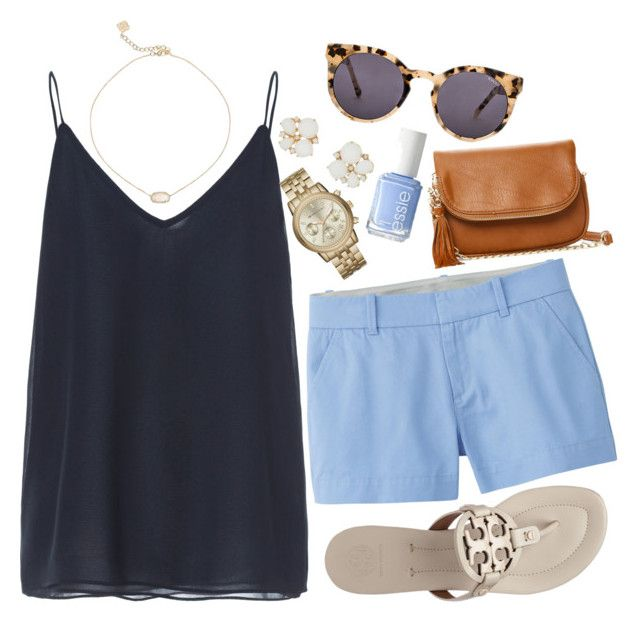 """Shades of Blue."" by jordanawarren ❤ liked on Polyvore featuring Zara, Uniqlo, Tory Burch, Kate Spade, Michael Kors, Kendra Scott, Essie, Moda Luxe and Komono"