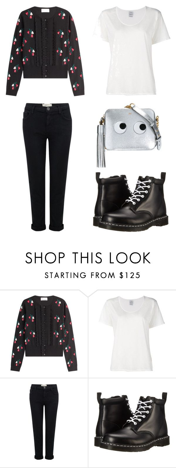 """""""black&white"""" by ferranong on Polyvore featuring RED Valentino, Visvim, Current/Elliott, Dr. Martens and Anya Hindmarch"""