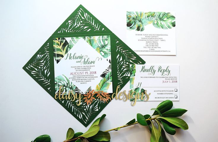 These Tropical Laser-cut Wedding Invitations suit any travel themed wedding. The brilliant greens and the highly-detailed petal-fold are simply stunning. #lasercutinvite #destinationwedding