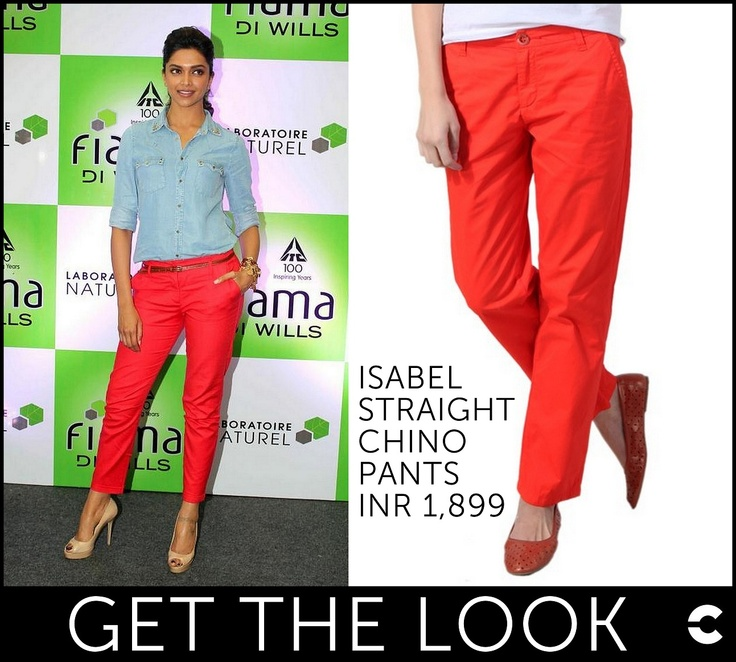Lady-licious Deepika Padukone sports Chino pants in style!  Get the look: http://www.freecultr.com/women/chinos/isabel-straight-chino-pants-1.html?bottom_color=Tangerine+Tango_source=fbpost_medium=FbpostGTLDeepikaRedChinos_campaign=fbpost