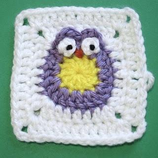 crochet owl square - gehaakte granny met uiltje