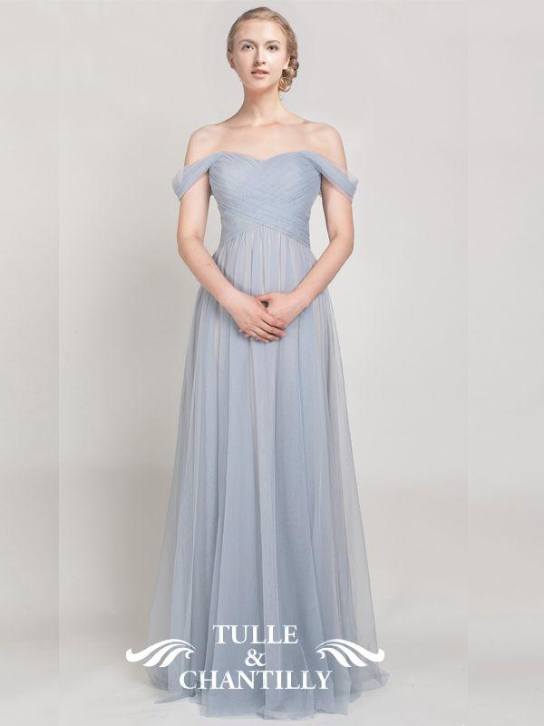 Elegant Long Tulle Off Shoulder Light Grey Bridesmaid