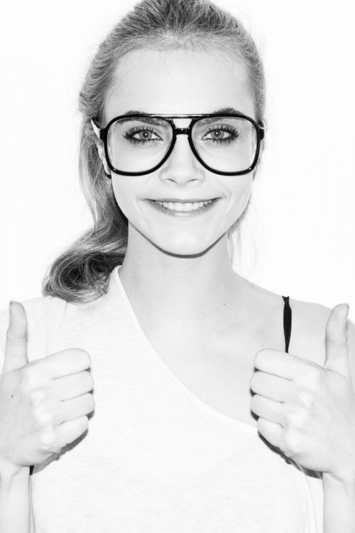 eyes, girl, cara delevingne, funny, sunglasses, hair, perfect, black and white