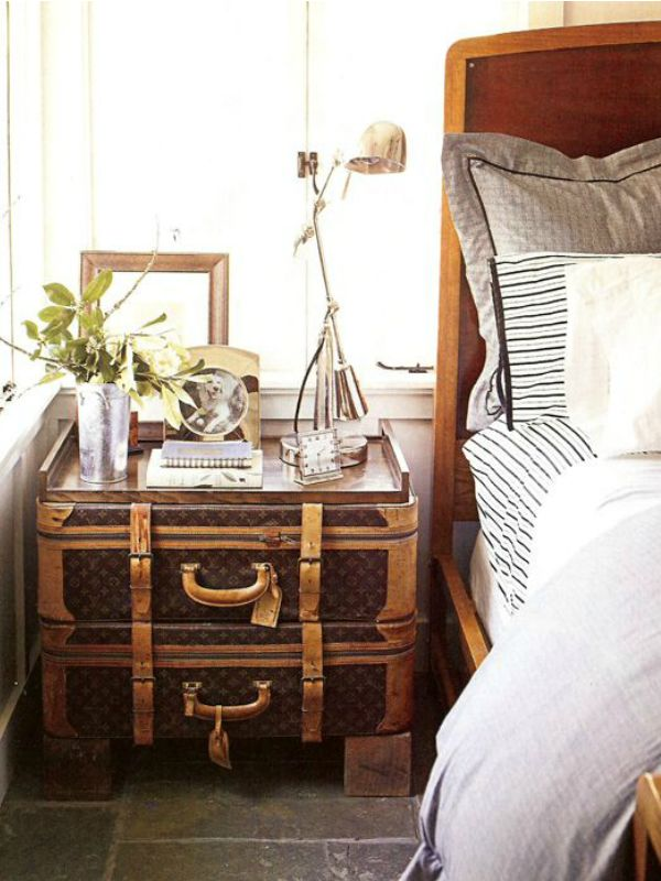 7 Genius Things To Use as a Bedside Table: Louis Vuitton Trunks/Suitcases