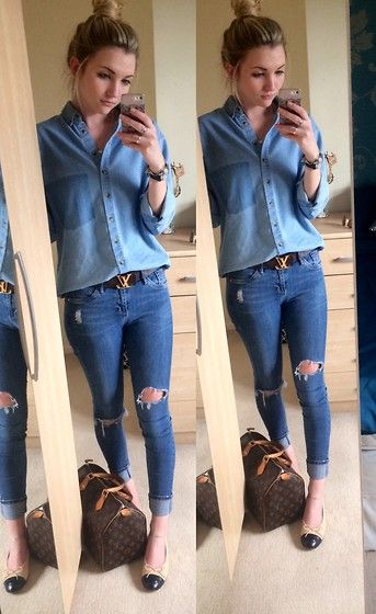 Asos  Denim Oversized Shirt, River Island  Ripped Skinny Jeans, Monogram Canvas Louis Vuitton Belt, Chanel Flats, Louis Vuitton Speedy 50 Monogaram Canvas