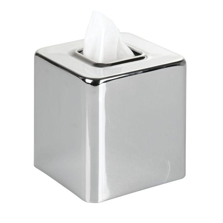 Tissue Box Cover Vanity Decor Square Open Bottom Facial Tissue Holder Chrome #TissueBoxCove